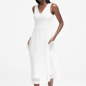 NWOT Banana Republic white midi eyelet dress 6